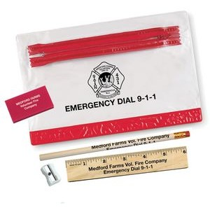 Thrifty School Kit w/Pencil,Ruler,Eraser & Sharpener in Vinyl Pouch