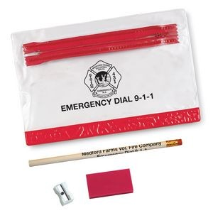 School Kit w/Pencil,Eraser & Sharpener in Vinyl Pouch